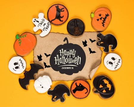 frame of halloween cookies