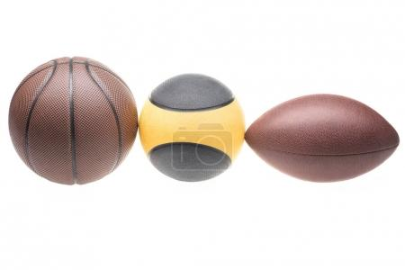 Sport balls in a row