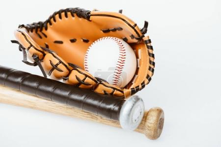 Photo for Closeup shot of baseball equipment - bats, ball and mitt isolated on white - Royalty Free Image