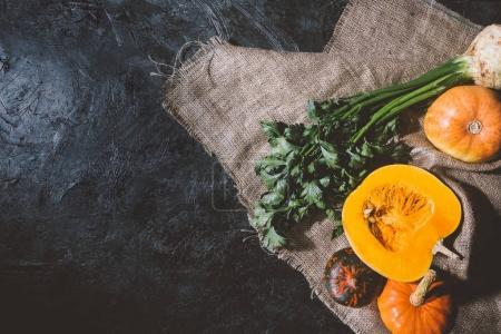 autumn vegetables on sackcloth