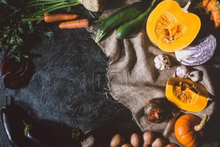 Ripe vegetables on sackcloth