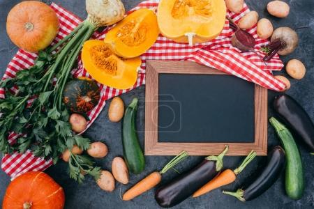 vegetables and blank board