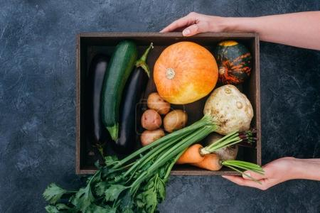 box with vegetables in hands