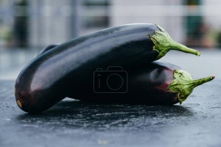 Photo for Close-up view of ripe fresh organic eggplants - Royalty Free Image