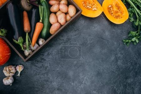 Photo for Top view of various ripe autumn vegetables in box - Royalty Free Image
