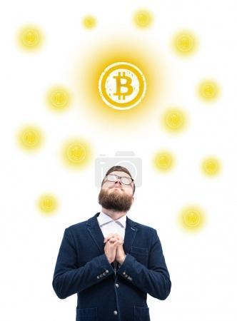 businessman with bitcoin symbol