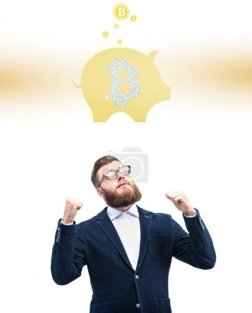 businessman with bitcoin symbol