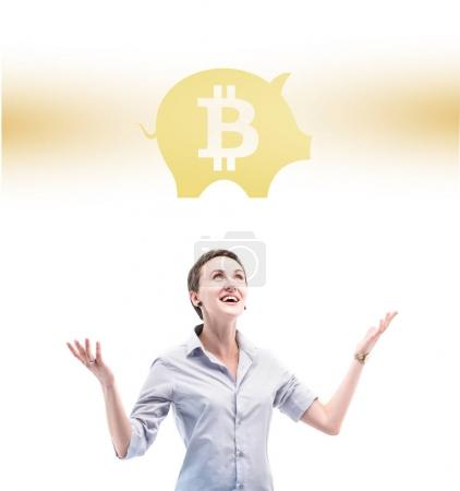 businesswoman with bitcoin symbol