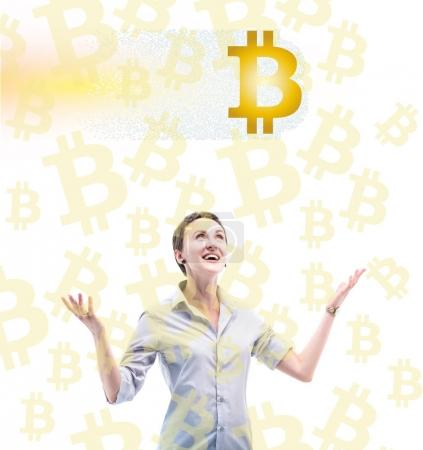 businesswoman with bitcoin symbols