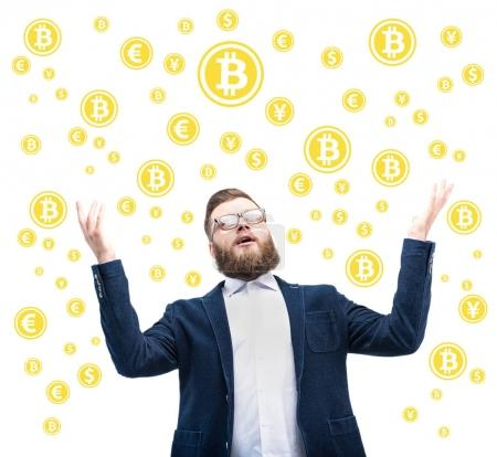 businessman with bitcoin symbols