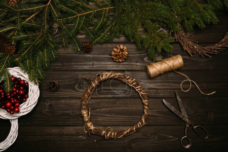 Wreath with fir and twine
