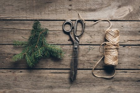 Fir branch, scissors and twine