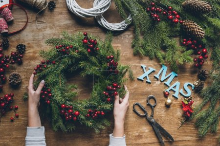 Christmas wreath with word Xmas