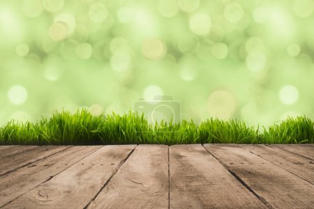 Photo for Full frame of wooden planks and sward with blurry background - Royalty Free Image