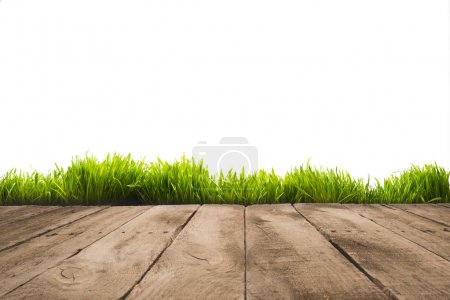 Photo for Full frame of wooden planks and sward background, isolated on white - Royalty Free Image