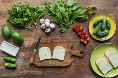 bread for toasts and vegetables