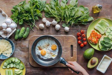 eggs on frying pan