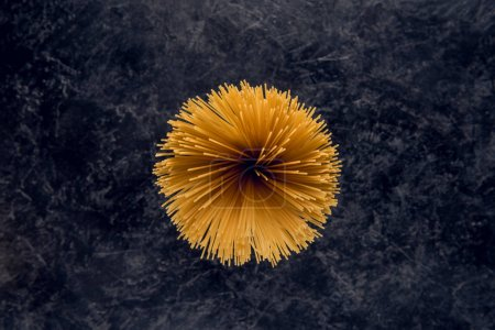 Photo for Top view of raw spaghetti in round shape - Royalty Free Image