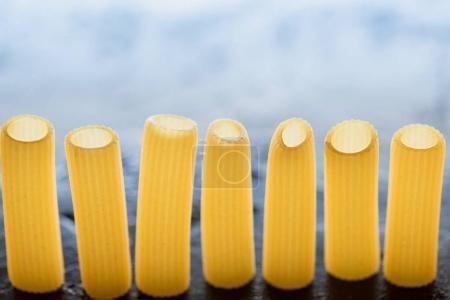 pasta standing in row