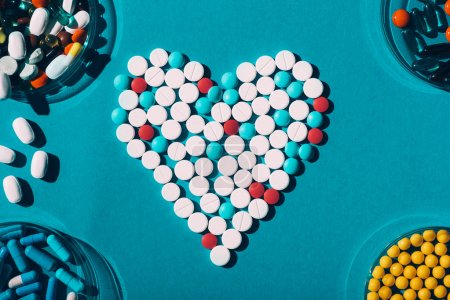 colorful pills in heart symbol
