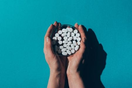 Photo for Top view of human hands holding petri dish with white pills on blue - Royalty Free Image