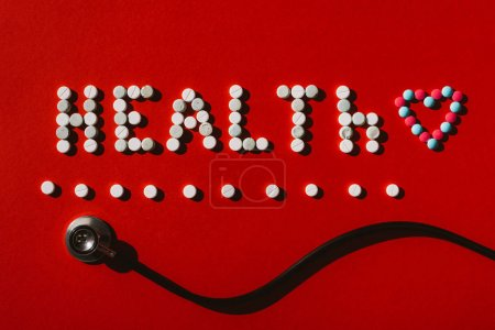word health from pills and stethoscope
