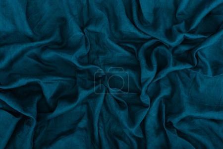 Foto de Cerrar vista de textura de la tela de lino azul oscuro - Imagen libre de derechos