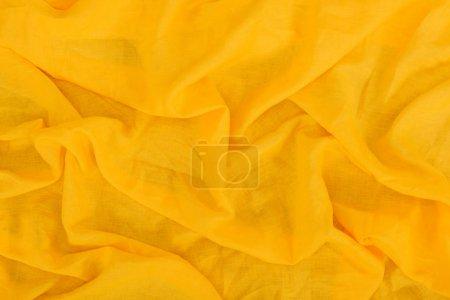 Photo pour Vue rapprochée de la texture du tissu de lin jaune - image libre de droit