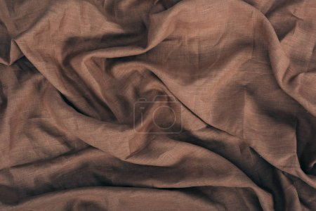 Photo for Close up view of brown linen fabric texture - Royalty Free Image