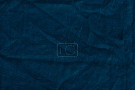 Photo pour Vue rapprochée de la texture de tissu de lin bleu foncé - image libre de droit