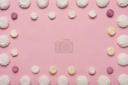 frame of white and berry marshmallows