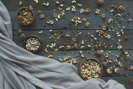 Assorted nuts on table