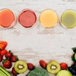 Постер, плакат: glasses of juice and healthy food