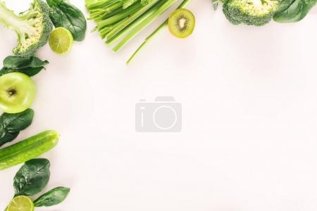 Photo for Top view of arrangement with organic vegetables and fruits isolated on white - Royalty Free Image
