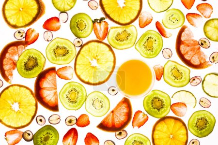 Photo for Full frame of various fruits, berries and glass of juice isolated on white - Royalty Free Image