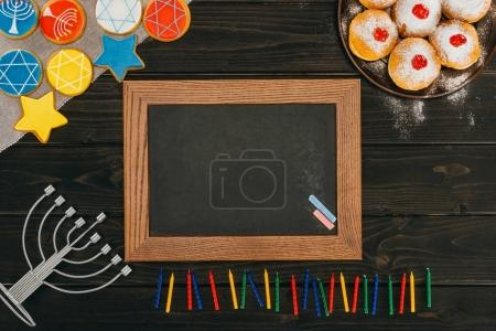 frame, donuts and cookies for hanukkah