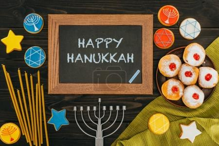 frame with happy hanukkah