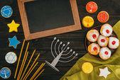 menorah and frame for hanukkah