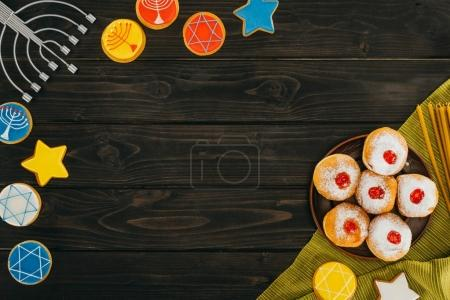 menorah, donuts and cookies for hanukkah