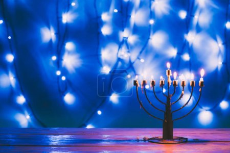 jewish menorah with candles