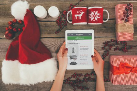tablet with amazon at christmastime