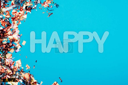 happy lettering surrounded with confetti