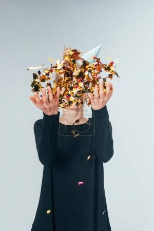 throwing confetti