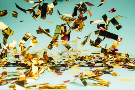 Photo for Close-up shot of beautiful glossy falling confetti - Royalty Free Image