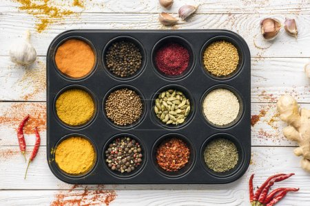 Black tray with spices