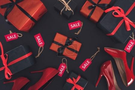 heels, presents and sale tags