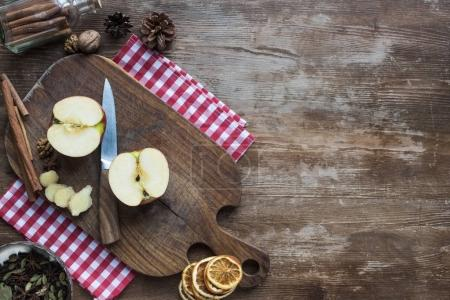 cut apple and knife