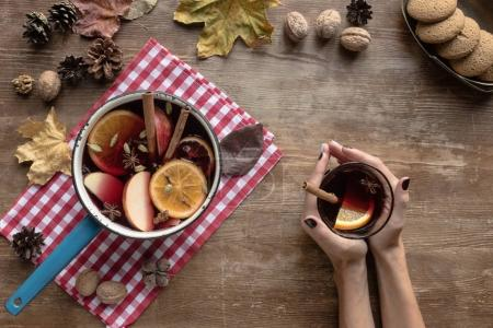 woman holding glass of mulled wine