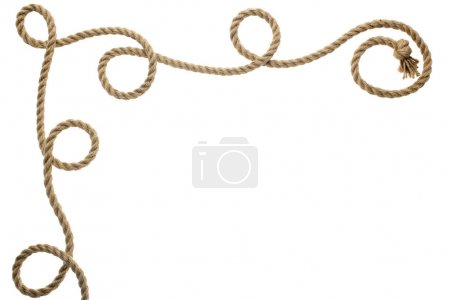 Photo for Close-up view of wavy rope with knot isolated on white - Royalty Free Image