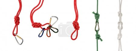 ropes with knots, loops and carabiners